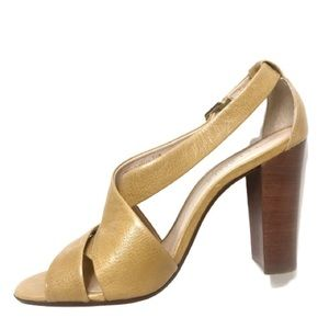 Talbots Yellow Mustard Gold Color Block Heels 7.5